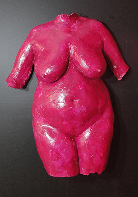 pink female torso sculpture